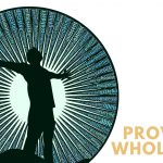 Provoke Wholeness - silouette of person standing with arms outstretched surrounded by rays of light with positive words