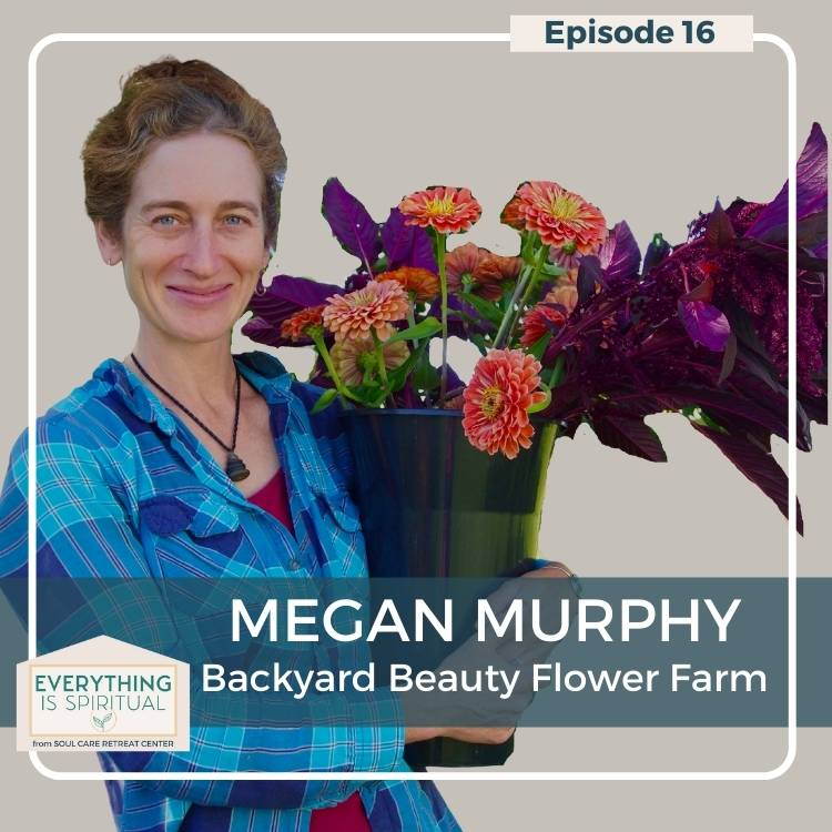 Megan Murphy - Backyard Beauty Flower Farm,Woman in a blue shirt holding a pot of orange and purple flowers,
